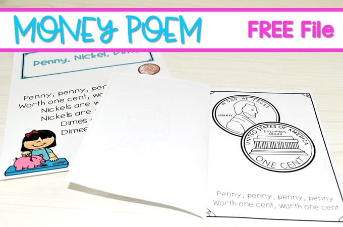 Kindergarten Money Poem for Coin Identification Free File! Your class will love singing this song and learning about the names of coins and their value!