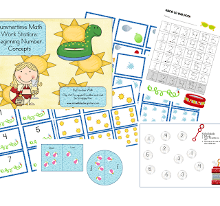 Summertime Math Work Stations-FREEBIE Beginning Number Concepts
