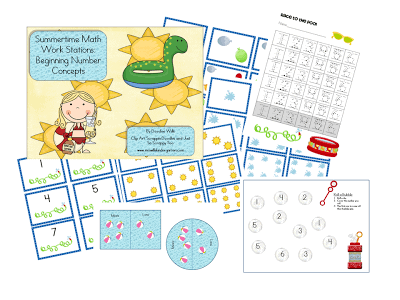 Summertime Math Work Stations-FREEBIE Beginning Number Concepts RD