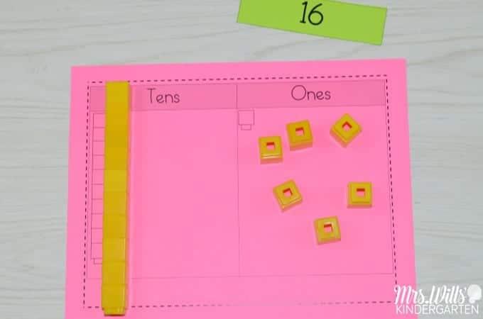 Math Work Stations Book Study Place Value activities. Free math center tasks for Kindergarten classrooms.