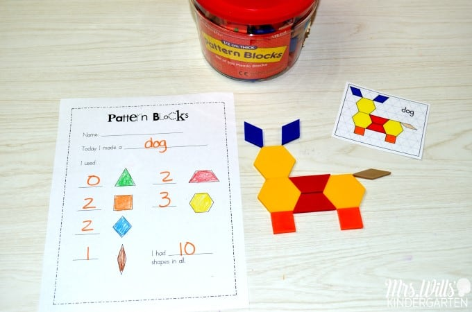 Math Work Stations Book Study Geometry. Ideas and free activities for kindergarten math centers. Students work with 2D and 3D shapes!