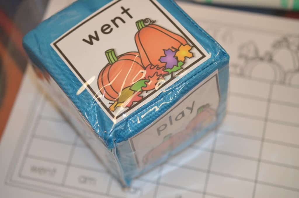 Sight word roll and write center