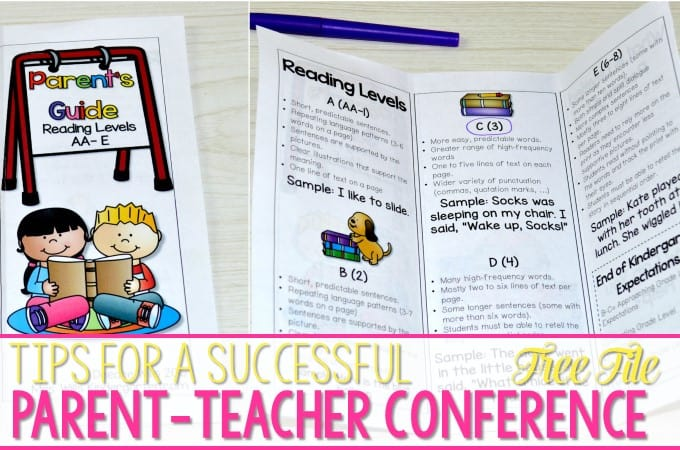 Parent Teacher Conferences Tips for Success! This post will share my tips for parent communication during conference time! Share assessment data and student goals with these free resources.