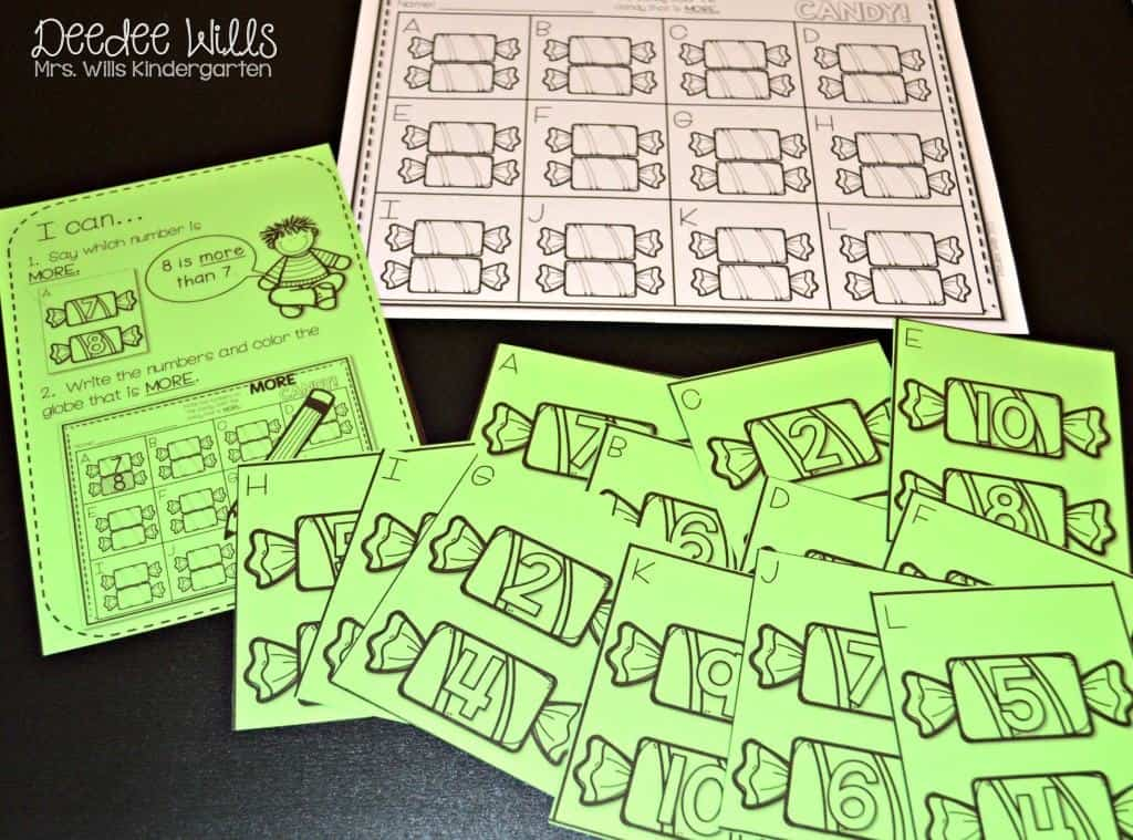 Fall counting math and literacy centers for kindergarten