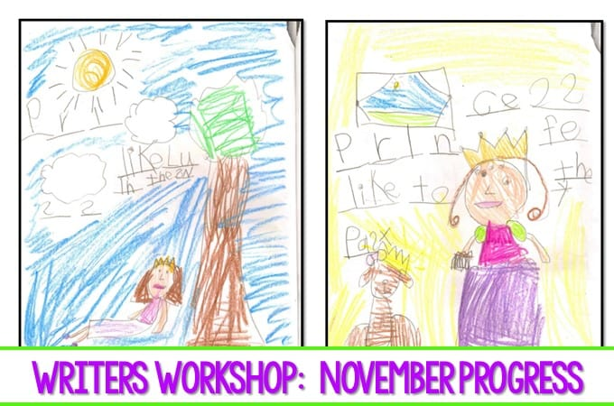 Writers Workshop November Kindergarten Writing. Here is a look at the progress we have made in November in Writers Workshop. #writing, #kindergartenwriting #writersworkshop