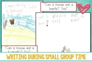 Writing During Guided Reading is a great way to guide emergent writers. See how I use guided writing in my small group to help my kindergarten students with their writing progress.