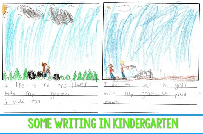 Some Writing in Kindergarten. Here are a few kindergarten writing examples from my classroom. We had a change in writing paper in writers workshop. Let me share my thoughts with you.
