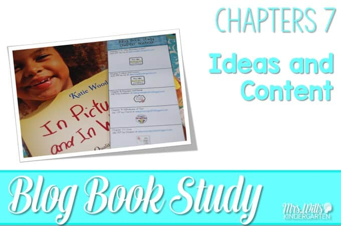 Writers workshop illustrative studies! In Pictures and in Words Chapters 7 is about writing ideas and content with mentor texts resources to teach writing to kindergarten and first-grade students.