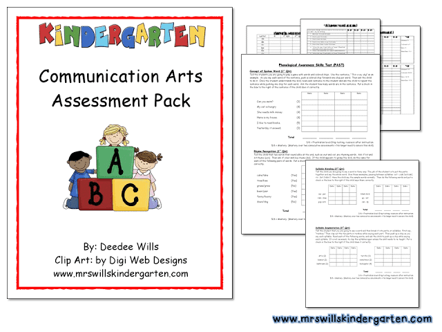 Assessment for kindergarten ELA