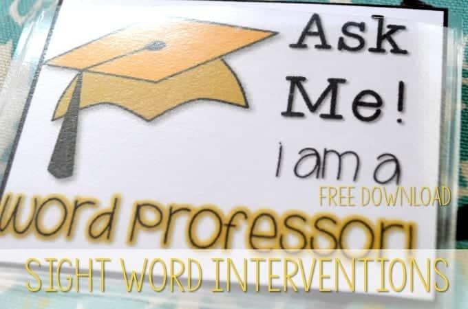 Sight Word Interventions-FREEBIE!