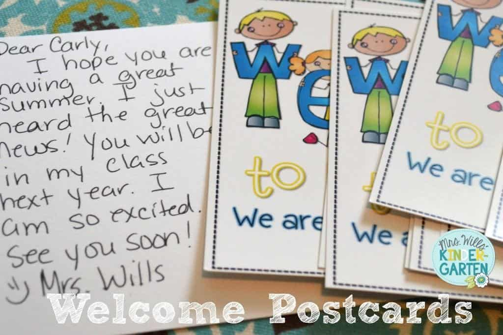 Welcome Students Postcards. I send a post card each year to m kindergarten students. It is a great way to introduce the teacher and set the tone for a great back to school launch!