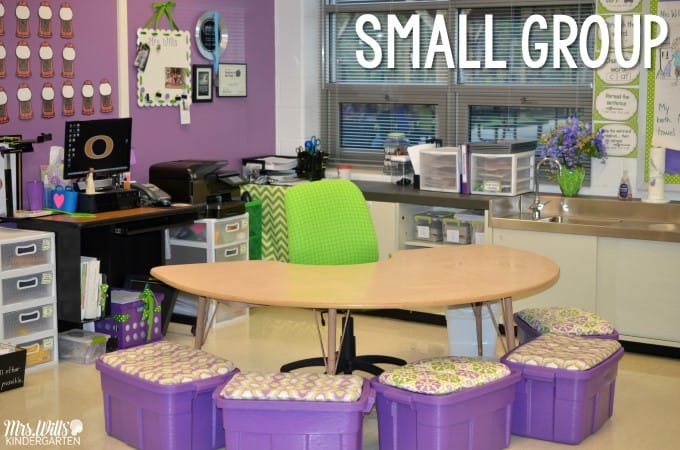 Kindergarten guided reading small groups! Looking for ideas to help your students with their reading skills in small groups? Check out how I organize my small group time!