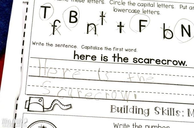 Kindergarten calendar worksheets for math and literacy skills