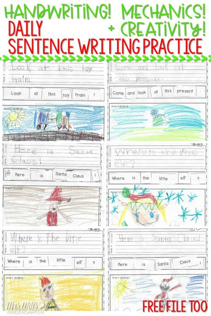 kindergarten handwriting practice and sentence writing! Looking for (simple!) ways to help your students work on their writing skills? Check out these kindergarten handwriting worksheets and sentence mechanics resources! FREE file too!