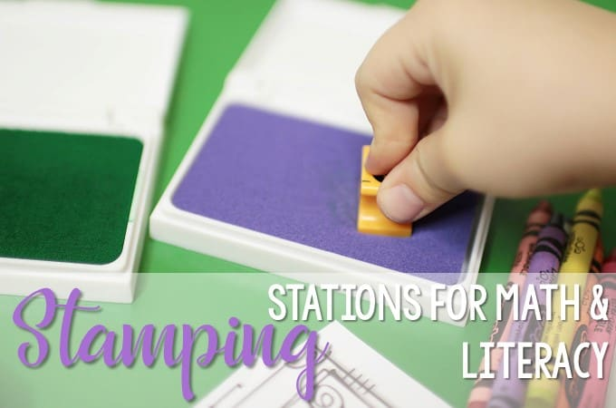 Kindergarten Stamping Stations for Math and Literacy