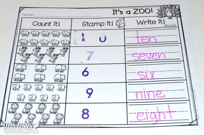 Kindergarten stamping stations! Check out these downloadable worksheets kindergarten math and literacy stamping activities! These are great for building your students' skills!