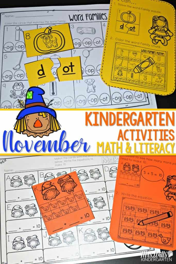 November Kindergarten Math and Literacy Stations Check out these printable centers which are perfect for you to print out (no color ink required) for your students!