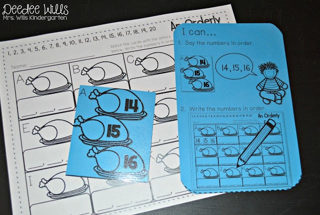 Check out these printable November kindergarten math and literacy stations which are perfect for you to print out (no color ink required) for your students!