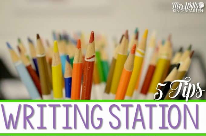 Curious about how to set up a writing station for your students? Check out these 5 tips! This kindergarten writing center will help kids embrace their inner writer!