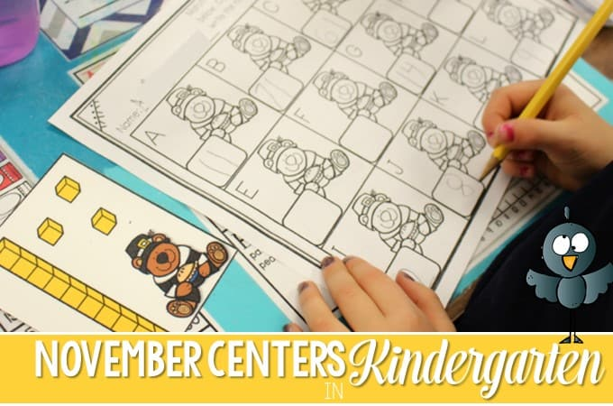 Printable Kindergarten Math and Literacy Stations: Looking for some ideas for activities for your students? These centers are perfect for November. Rhyming, counting, writing, and reading tasks that kids will love!