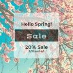 Hello Spring Sale 20%