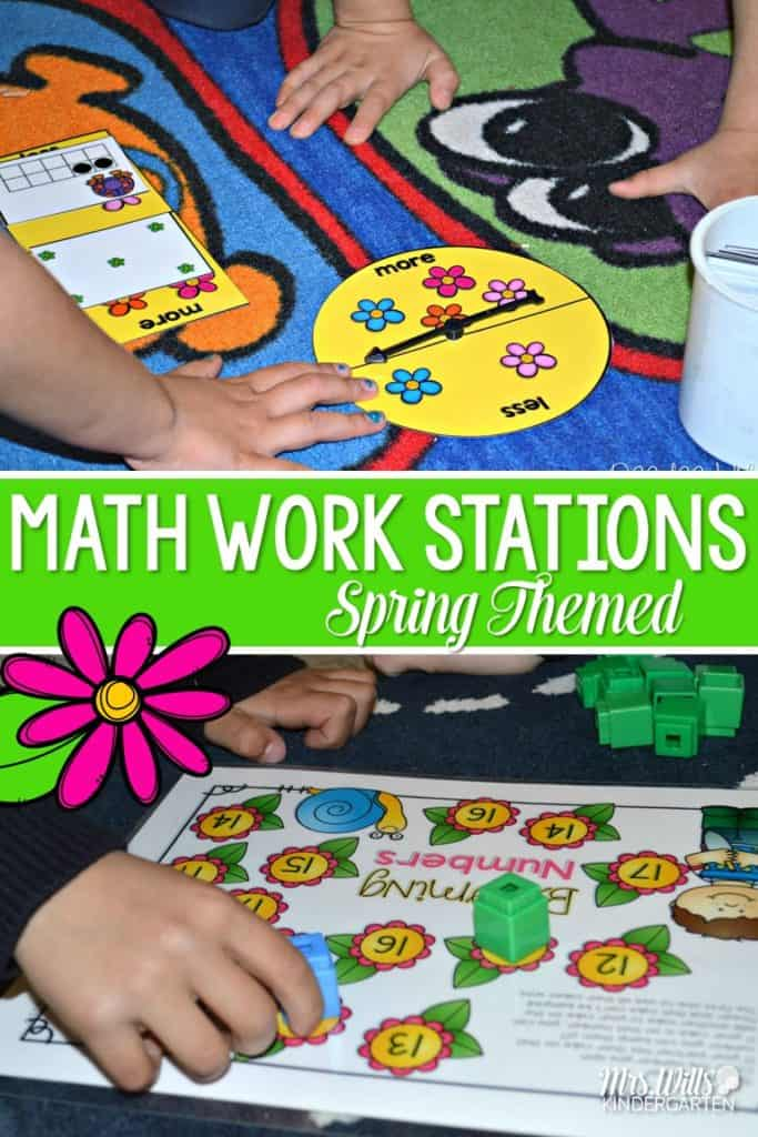 Math work stations for spring.  Great Kindergarten activities to keep math centers going strong!