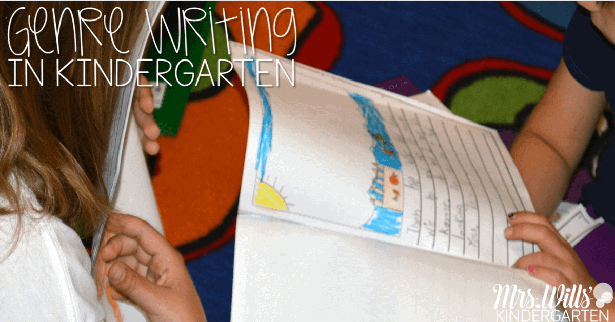 Genre writing in kindergarten engages students in writing and moves them along the writing continuum. Students write informational text and narrative texts. In this post I share several examples of different genres of writing from my kindergarten students.