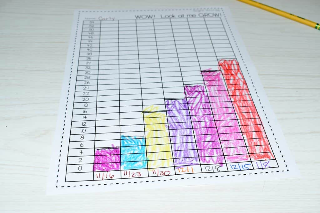 sight word growth chart and data collection for RTI