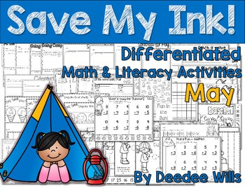 NO PREP! The Beach, Camping, Zoo, ...covered All you need to do is print and copy! No color ink, no lamination, just easy! These May themed activities will work great for morning work, early finishers, or as a station or center. 45 math and literacy activities are included with differentiated tasks. Sheets are labeled to help identify the more challenging vs less challenging tasks.