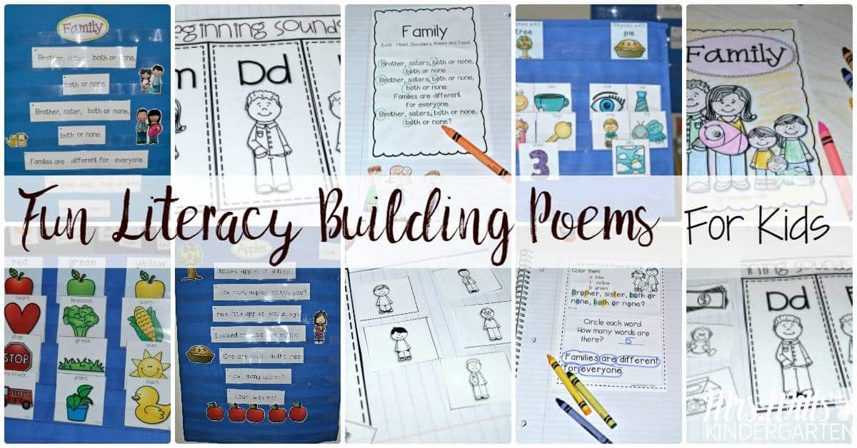 Fun Literacy Building Poems for Kids. Songs and poetry should be part of your kindergarten day. This post will show you how to incorporate poetry fun into your day.