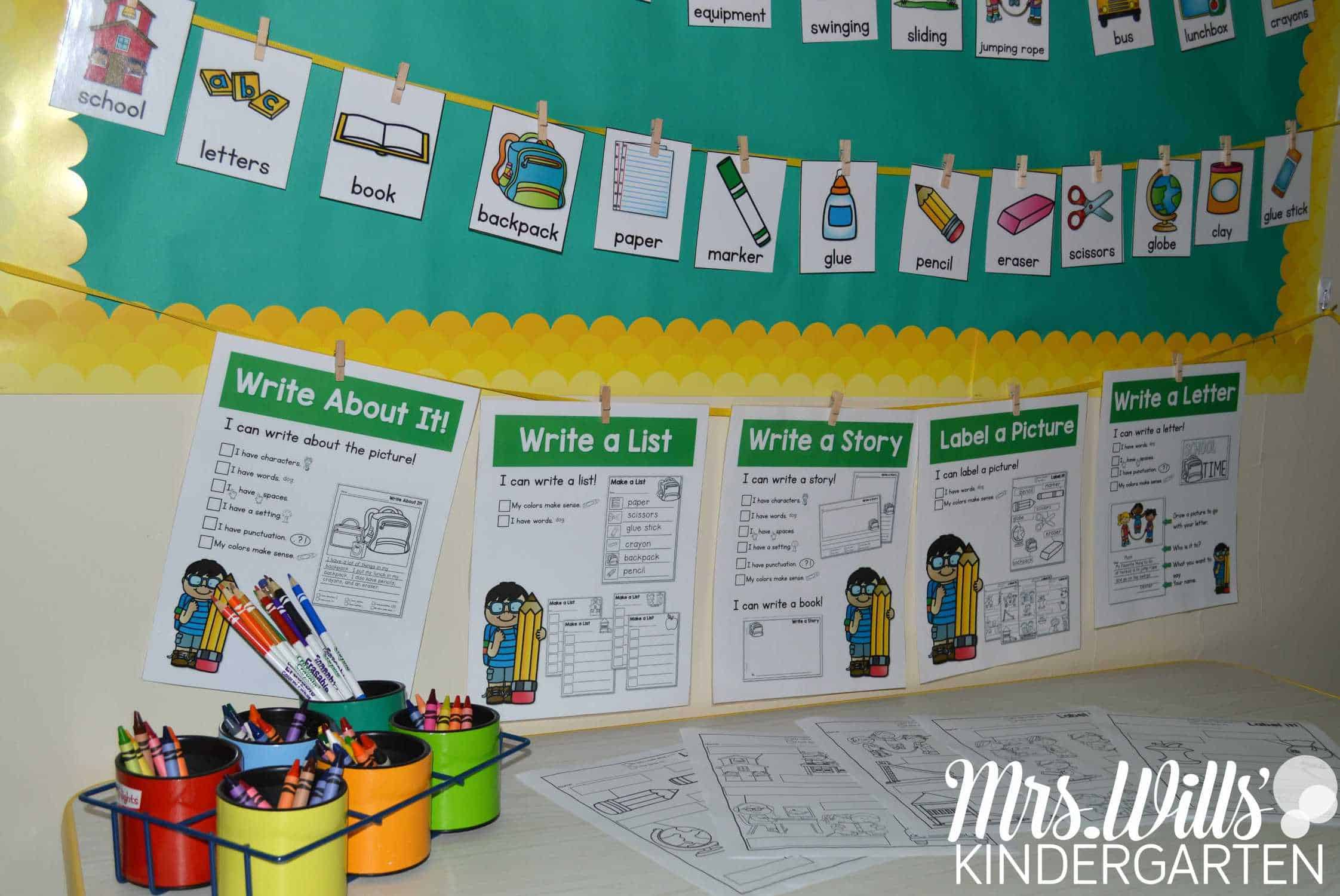 Classroom Writing Ideas ~ Writing station mrs wills kindergarten