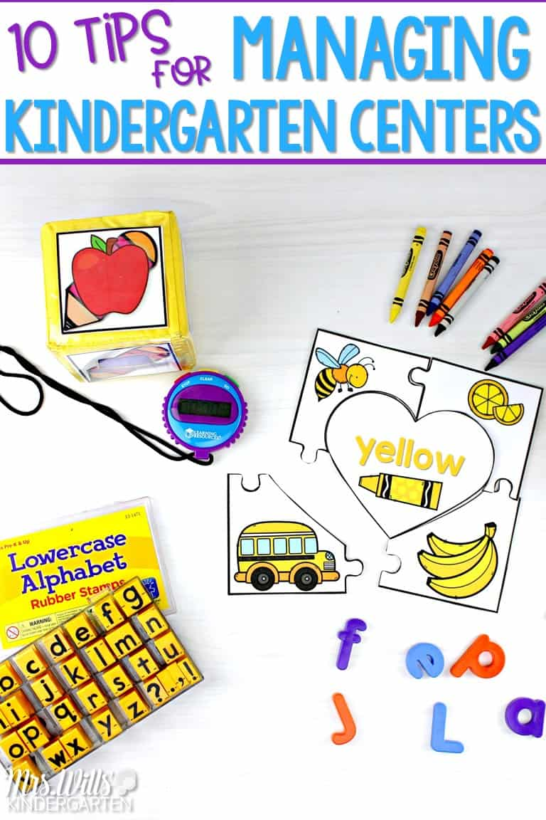 Managing kindergarten centers can be overwhelming! Check out these 10 tips to make the most of your center time without losing your mind! This post will help simply your center management and help you fit it all in! #managingkindergartencenters #kindergartenstations #centermanagement