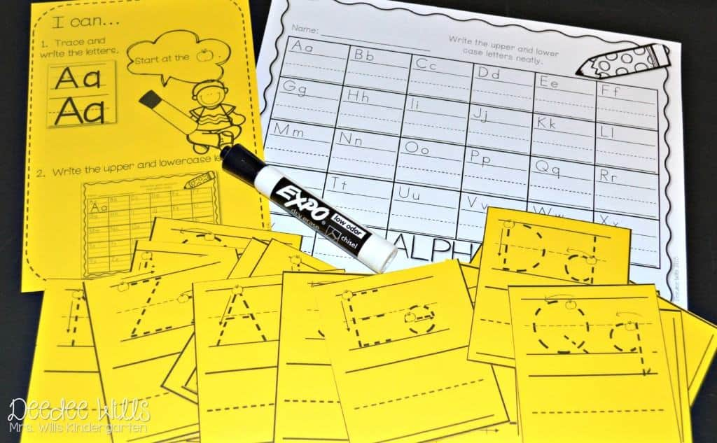 Math and Literacy Centers for kindergarten are perfect for back to school. Student stations offer independent practice with easy prep. These printable worksheets and games are FUN!