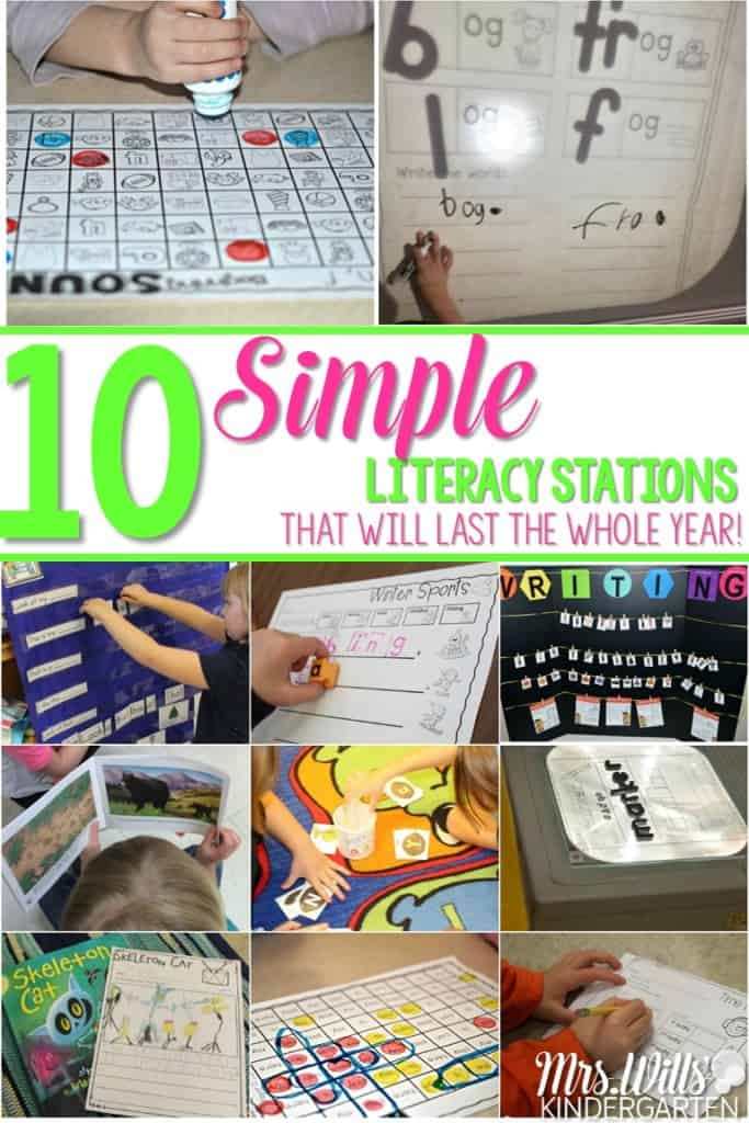 Simple literacy stations that will last you ALL YEAR! Let me show you how to simplify your students learning. Writing, stamping, listening, and so many other center ideas are in this blog post to help your students gain independence.