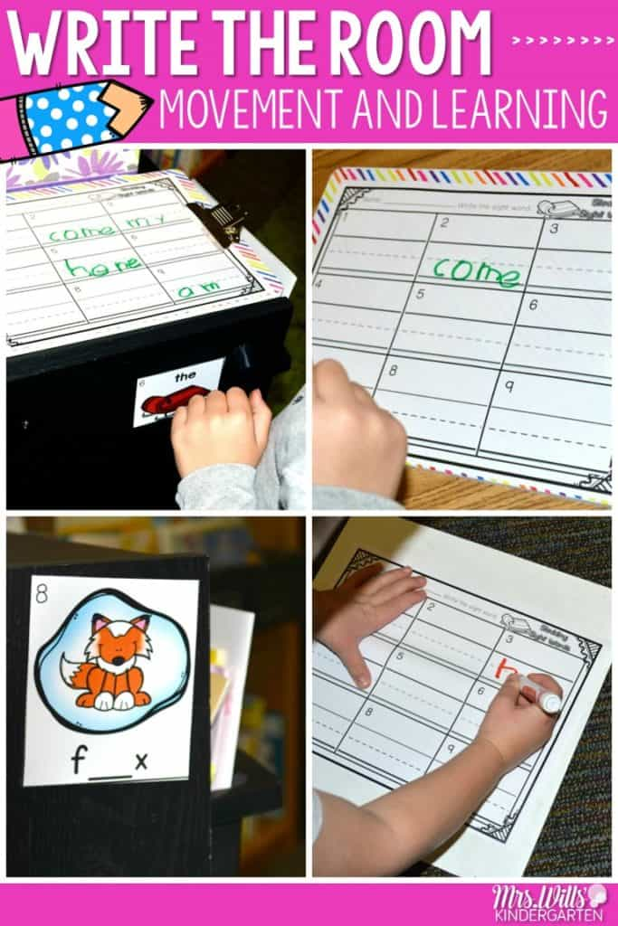 Centers that get students moving and also learning! These math and literacy stations are perfect for kindergarten. Sight words (editable), CVC words, beginning and ending sounds, phonemic awareness skills, math, addition, subtraction, and more! Check it out!
