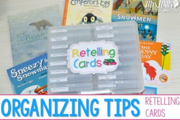 Organize Reading Retell Materials with this simple organizing container. Students can sort retelling and text details on some of their favorite January read aloud books: Sneezy the Snowman, The Snowy Day, Snowmen at Night, Ice Bear, and The Moon Seems to Change!