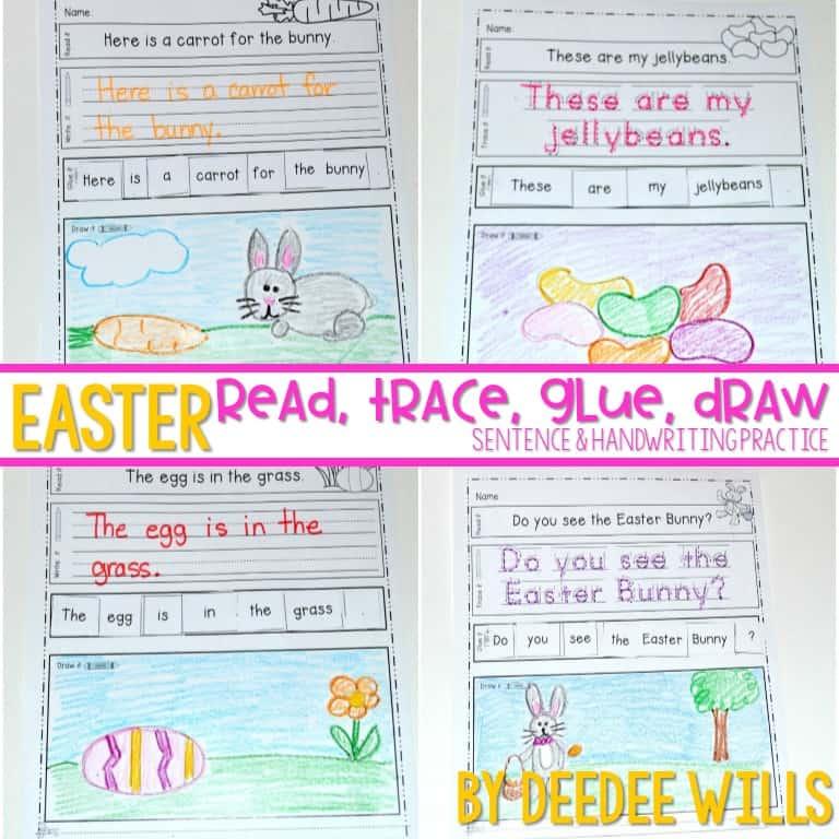 Easter sentences and handwriting for kindergarten