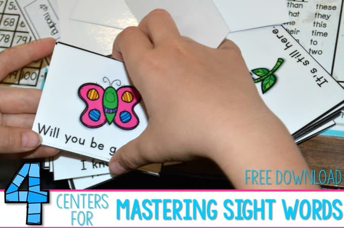 Mastering Sight Words with These 4 Centers!  Plus a free file!