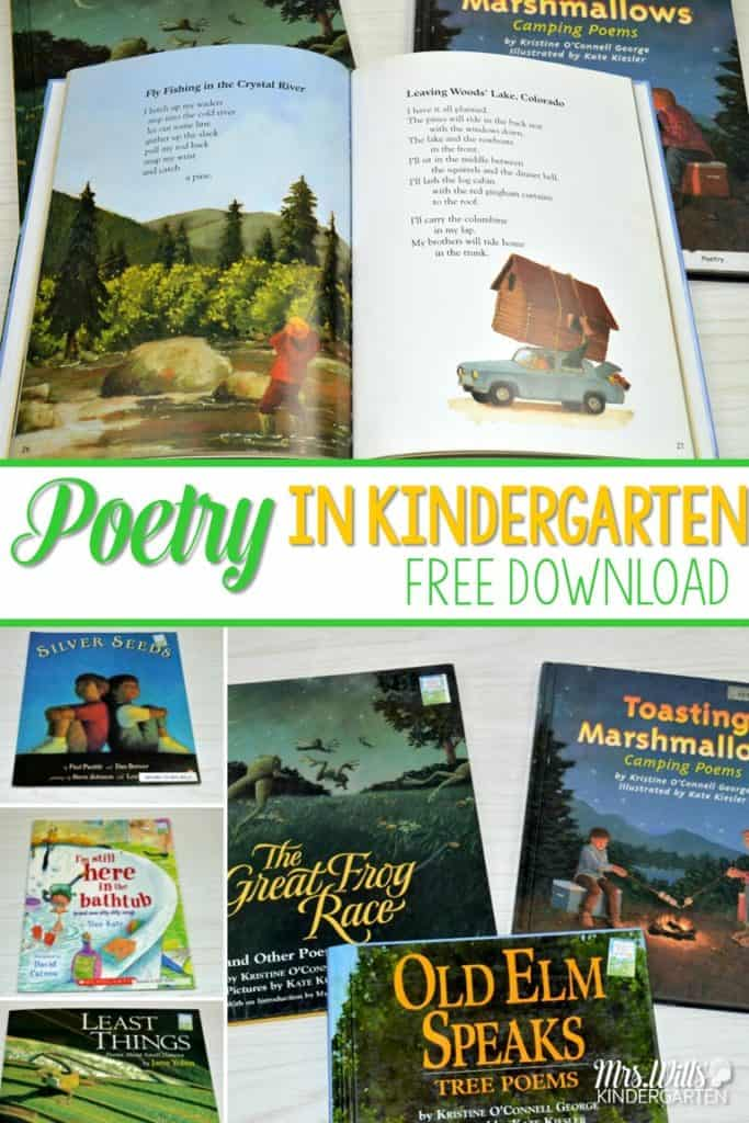 FREE Kindergarten poetry! It is a fun and easy with these ideas! 6 poetry book recommendations that are perfect for primary learners. Shared reading resources with printable poems and a FREE poetry planning and organization resource.