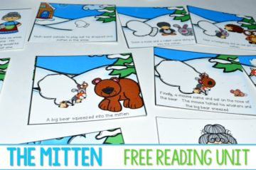 The Mitten Reading Comprehension unit for kindergarten. Making predictions, retelling, making connections, and opinion writing focus lessons are included in this free unit. A craft makes this extra fun!