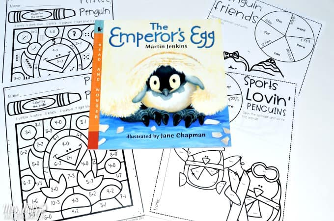 Kindergarten Penguin Resources for informational text study. Looking for ideas to teach your students about Emperor penguins using the book The Emperor's Egg? Check out these kindergarten penguin resources, including crafts and printable worksheets!