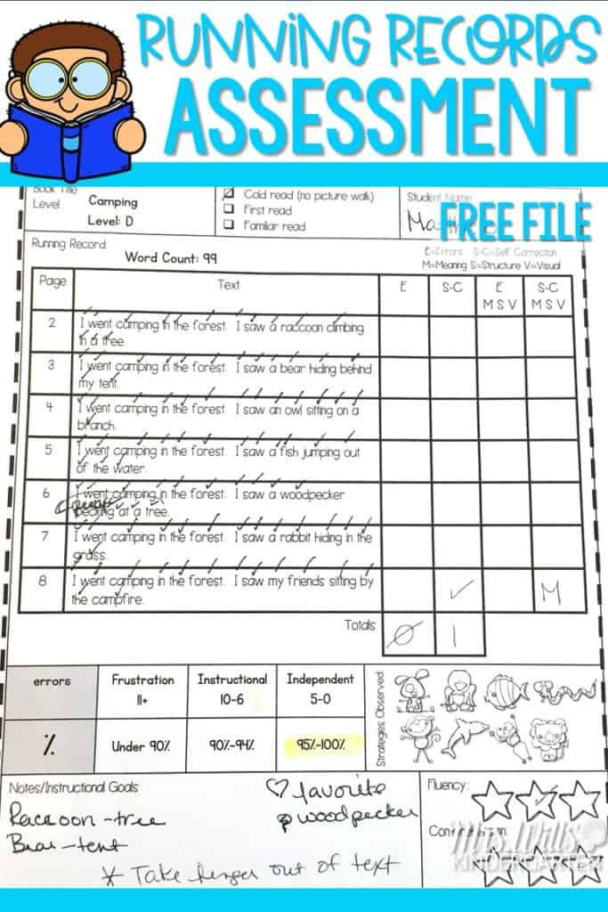 Running Records Assessment examples and free file! Learn how to complete the running record assessment form. Learn why running records help you analyze readers and help you learn what to teach next. FREE printable file is included.