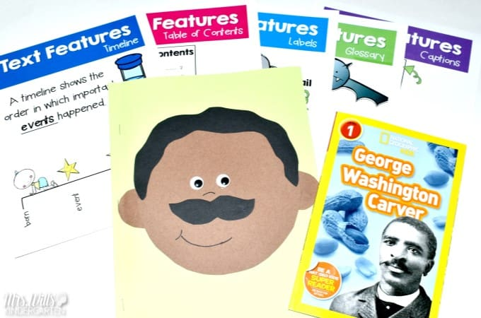 Black History Month Lesson Plans for kindergarten and first grade. Learning about biographies and text features of informational text is the background for this classroom activity set. Biographies of Frederick Douglass, Rosa Parks, and George Washington Carver are included. Timelines, table of contents, glossary, and more are included in this reading comprehension unit. Cute crafts and a free file too!