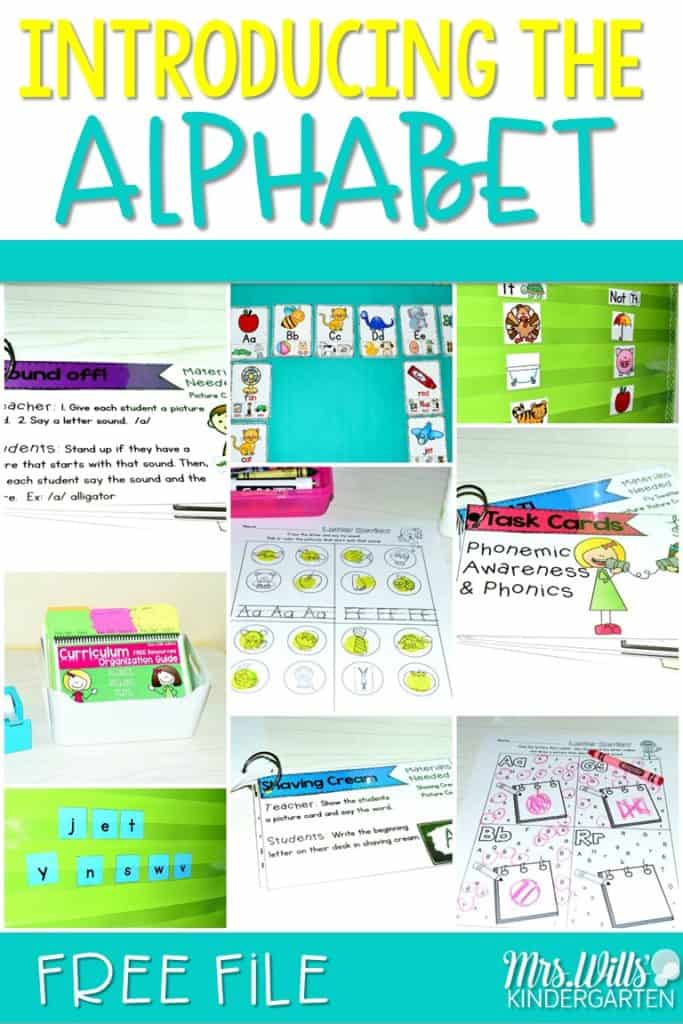 Introducing the Alphabet in kindergarten. We help kindergarten students learn to identify the letters of the alphabet at first by looking at the path of motion. See how we start our year with letter introduction and a FREE file!