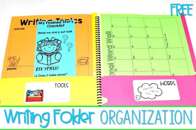 Writing Folder Organization FREE labels for your early primary writers' workshop students. This blog post will give you ideas on how to create writing folders for your classroom. Great for kindergarten, first grade, and second grade!
