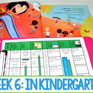 Kindergarten Lesson Plans Week 6 featuring ideas for The Recess Queen reading, writing, math, craft and center activities too. Download the free editable lesson plan template.