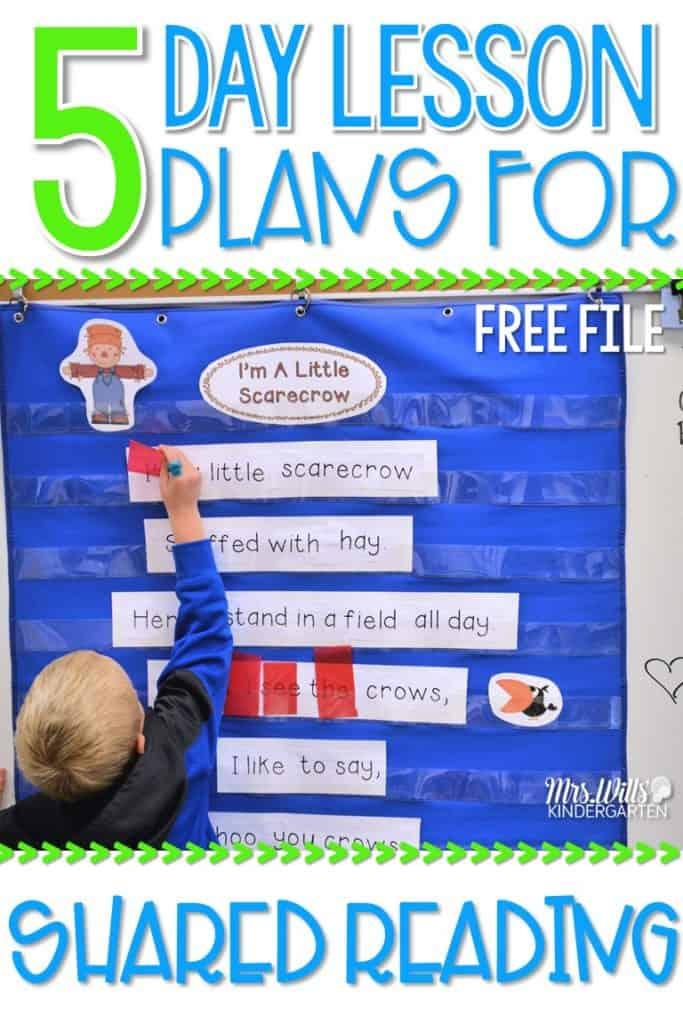 Kindergarten Poetry Activities and Shared Reading Poems