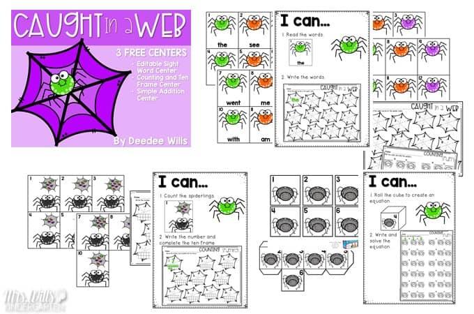 Caught in the Web Free file with 2 free spider center activities for kindergarten