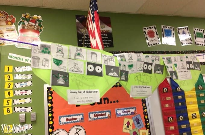 Kindergarten Lesson Plans Week 11 featuring the book A Creepy Pair of Underwear. Ideas for reading, writing, math, craft and center activities too. Download the free editable lesson plan template, PLUS a Free Halloween Math Center for Kindergarten!
