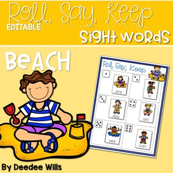 BEACH! Sight Word Roll, Say, Keep-Editable 1